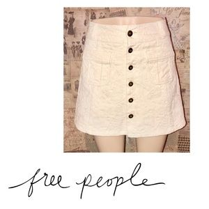 {Free People} Off White Button Down Skirt